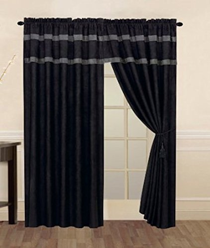 Legacy Decor Black and Grey Micro Suede Window Curtain/Drape Set with Valance and Sheer Lining