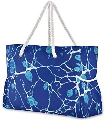 MORITA白い川と大理石模様をつける青によって斑点を付けられるヴィンテージ ビーチバッグ レディース バック プールバッグ スイムバッグ ビーチ 海水浴 大きめ 軽い 軽量