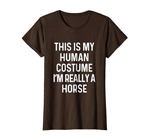 Womens Funny Horse Costume Shirt Easy Halloween Idea Medium Brown for $<!--$19.99-->