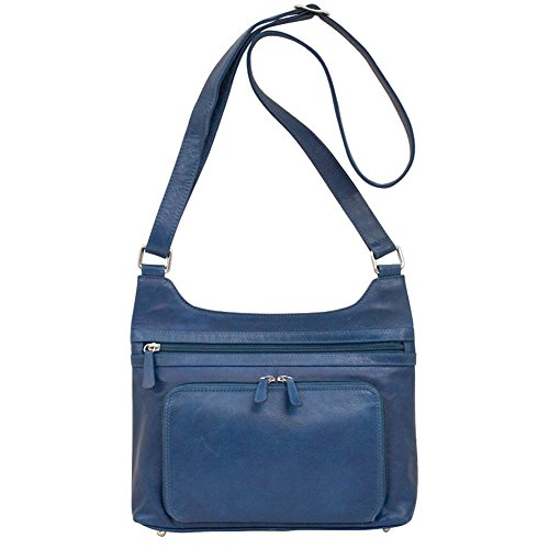 ili 6919 Leather Hobo with adjustable cross body/shoulder strap (Bengal Blue)