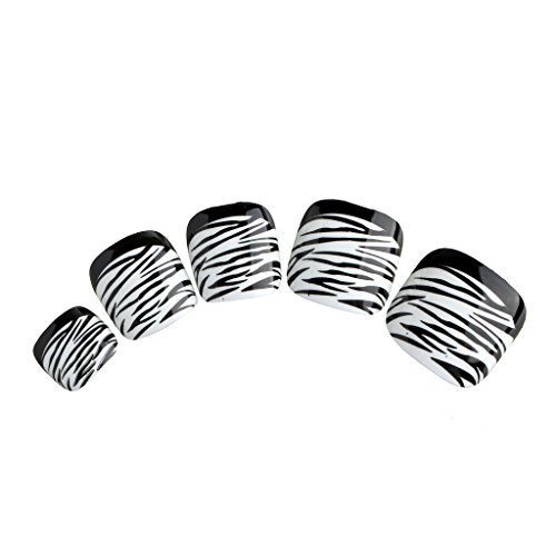 - Nadeco Artificial Toe Nails With Handle,Zebra Stripe,Black French Style,24 Nails Covers 12 Sizes