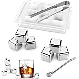 Whisky Ice Cube Set of 6 Stainless Steel Beverage Ice Blocks Chilling Stone Reusable Drink Cooling Rock Set with Tongs(Set of 6)