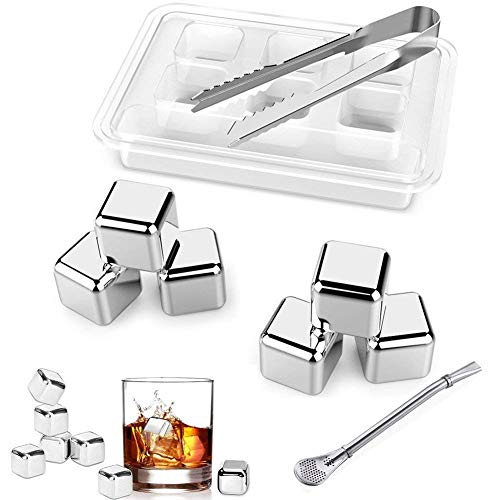 Whisky Ice Cube Set of 6 Stainless Steel Beverage Ice Blocks Chilling Stone Reusable Drink Cooling Rock Set with Tongs(Set of 6) by D.RoC