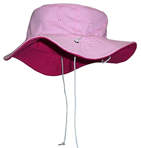 N'Ice Caps Baby Unisex Reversible and Adjustable Cotton Twill Aussie Sun Hat (52cm (20.5'') 18-36mos, Fuchsia/Pink) by N'Ice Caps
