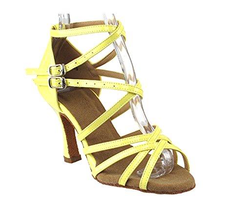 "Very Fine Ladies Women Ballroom Dance Shoes EKSA5008 Fluorescent Grass Yellow 3"" Heel (8.5M)"