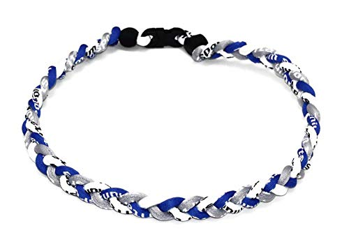 Braided Rope Necklace - OOIN Package of 12 Baseball Titanium Necklaces for Boys Tornado Braided Rope Necklace (Blue/Gray/White, 18