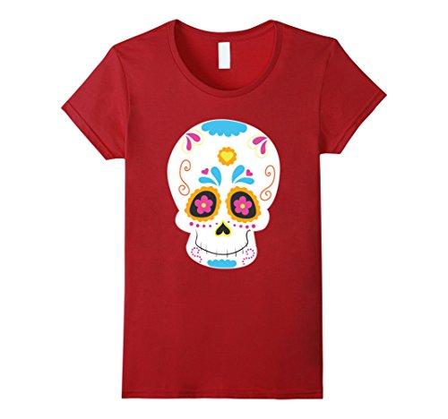 [Womens Sugar Skull costume Mexico Dia de los Muertos Catrina XL Cranberry] (Dia De Los Muertos Female Costumes)
