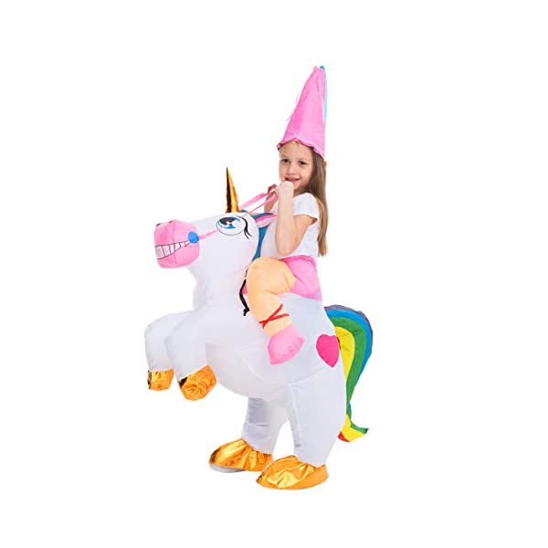 Spooktacular Creations Inflatable Costume Unicorn Riding a Unicorn Air Blow-up Deluxe Halloween Costume 4