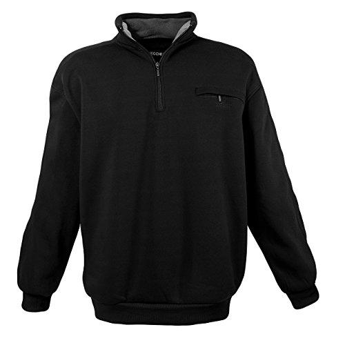 Klassisches Herren Sweatshirt mit Reißverschluss in Übergröße in schwarz