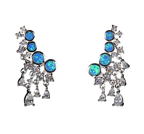 Tingle Sterling Silver Earrings Opal Earrings For Women Silver Drop Earrings Crawler Ear Earrings Jackets Earrings Blue Opal Earrings Ear Drop Halo Earrings Ear Cuffs Swing Earrin