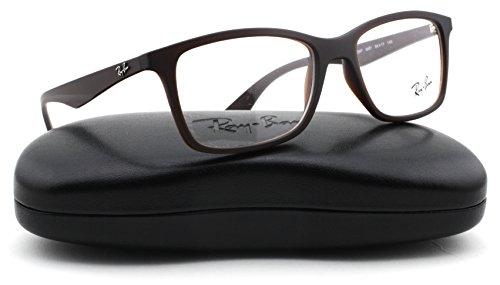 Ray-Ban RX7047 Rectangle Unisex Eyeglasses (Matte Brown Frame 5451, - Reading Ray Ban Glasses