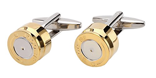 D&L Menswear Spent Bullet Casing Two Tone Brass Cufflinks with Black Gift Box (Tone Cuff Two)
