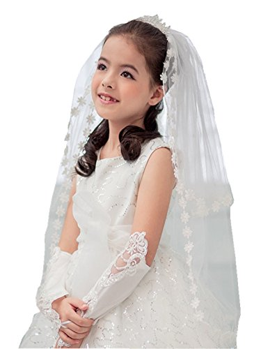 Shop Ginger Wedding Girls 2T White Holy First Communion Veil Tiara Lace Edge (With Tiara)]()