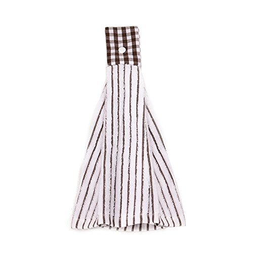 SNW 2 Pcs Kitchen Cotton Classical Striped Towel / Absorbent Towel /Hanging Towel /Hand Towel,Brown Stripes