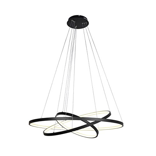 Unitary Brand Modern Black Acrylic Remote Control Nature White and Warm White Dimmable LED 3 Rings Pendant Light Max 90W Painted Finish