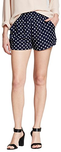 Shameless Women's Printed Pull on Short with Pockets (Large, Navy/White Polka Dots)