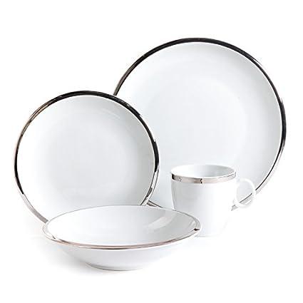 Isaac Mizrahi Skyline 16 Piece Porcelain Dinnerware Set Silver and White  sc 1 st  Amazon.com & Amazon.com: Isaac Mizrahi Skyline 16 Piece Porcelain Dinnerware Set ...