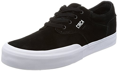 C1RCA Men's Elston Low Profile Durable Non Slip Skate Shoe, Black/White, 8.0 Medium US