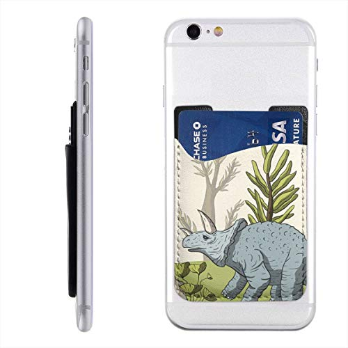 Dinosaur Triceratops in Its Habitat Mobile Phone Holder Backpack Wallet,PU 3M Adhesive Stick-on ID Credit Card Wallet Phone Case Pouch Sleeve Pocket Compatible Pocket Pocket Sleeve White ()