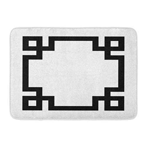 - DEGTTF Custom Doormats Black White Greek Key Border Home Door Mats 15.7