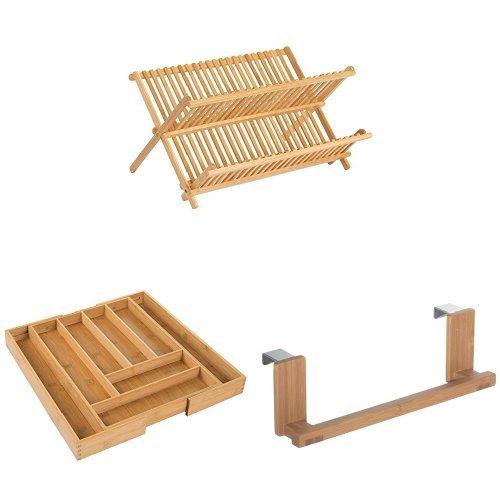 InterDesign Formbu Collapsible Bamboo Dish Drying Rack-Natur