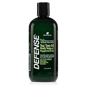 Defense Soap Peppermint Body Wash Shower Gel 12 Oz - Natural Tea Tree Eucalyptus Peppermint Oil