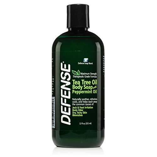 Defense Soap Peppermint Body Wash Shower Gel 12 Oz - Natural Tea Tree Eucalyptus Peppermint Oil