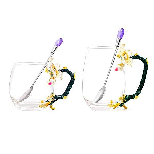 Daycindy Clear Glass Tea Mug Apricot Flower Enamel Tea Cup with Spoon Set (12oz & 13oz)