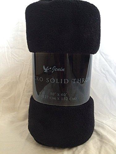 "Awad Home Fashion Solid Warm & Cozy Soft Fleece Throw Plush 50""x60"" Blanket, Black"