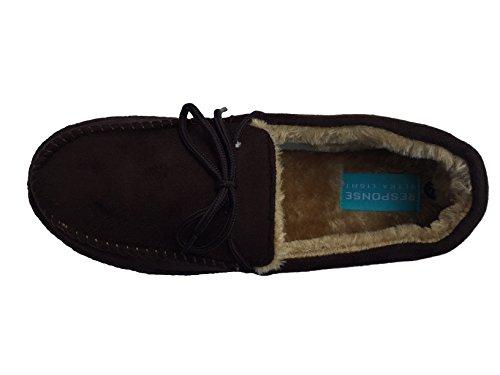 CABALLEROS Mocasín Pantuflas COSIDO Mulas SUAVE Y Cálida Cómodo Ante Imitación Nuevo Ligero Talla RU 7-12 Marrón - marrón