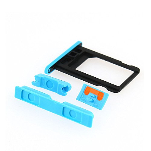 Side Volume+mute Switch+power on Off Buttons+sim Card Tray Slot for Iphone 5c (Blue)