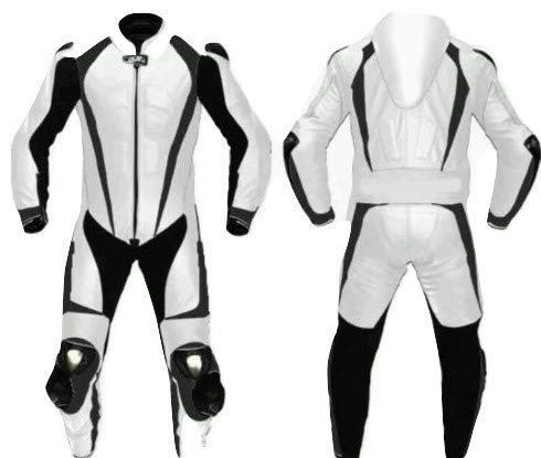 Motorcycle White and Black One Piece Leather Racing Suit CE Approved Protection (Medium)