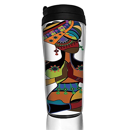 Stainless Steel Insulated Coffee Travel Mug,Style Costume Praying Culture Religion Enlightenment,Spill Proof Flip Lid Insulated Coffee cup Keeps Hot or Cold 11.8oz(350 ml) Customizable printing
