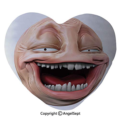 - AngelSept Heart Shaped Throw Pillows Poker Face Guy Meme Laughing Mock Person Smug Stupid Odd Post Forum Graphic Home Sofa Cushion Couple Gifts, for Her,Party Decoration(45x50cm),Peach Pearl