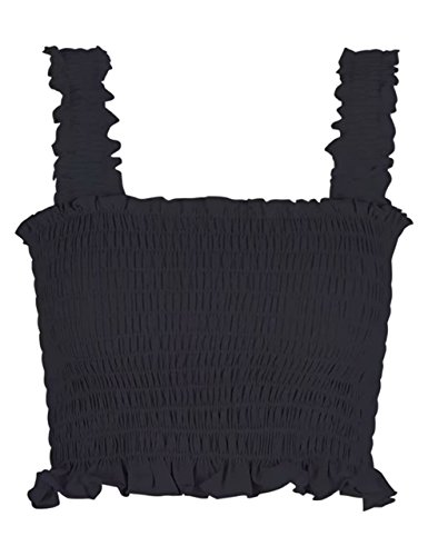 Pleated Square Neck - KAMISSY Women Frill Sleeveless Smock Ruffle Girls Square Neck Crop Tops