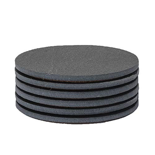 Sona Home Premium Functional Slate Coasters (Set of 6) | Round Black Coasters with Absorbent Top Surface & Non-Slip Cork Bottom | Stylish Stone Coasters for All Types of Glasses & Mugs | 11cm/4.3