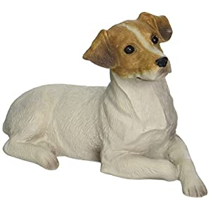 Sandicast Small Size Smooth Brown and White Jack Russell Terrier Sculpture, Lying 7