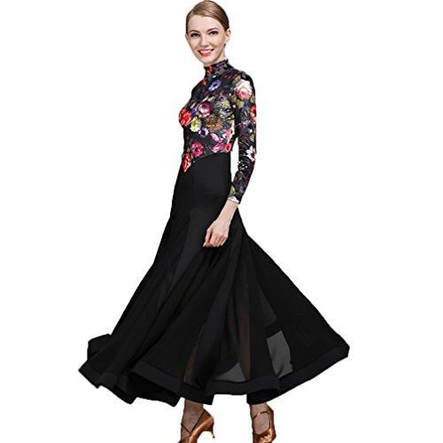 Performance Costume Pour Moderne Standard Tango xxl Wqwlf Mode Femme Valse De Robe Impression Black Velours Salon Nationale Danse Tenue Compétition xxTRpn