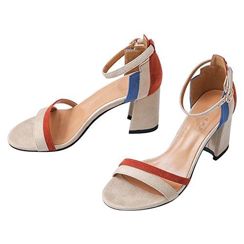ZHANGYUSEN Una Palabra con Tacones Altos de Verano de 2018, un Nuevo par de Zapatos, High School Net Rojo Zapatos High-Heeled Fresca Pequeña. Color albaricoque