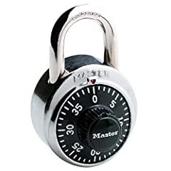 The Master Lock 1500D Dial Combination Padlock features a 1-7/8in (48mm) wide metal body for durability, with a stainless steel cover. The 9/32in (7mm) diameter shackle is 3/4in (19mm) long and made of hardened steel, offering extra resistanc...