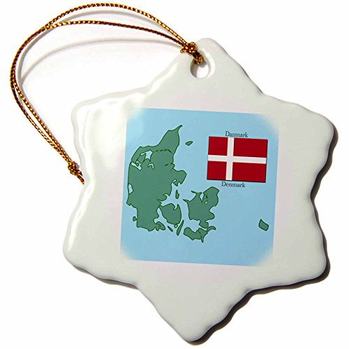 3dRose orn_37583_1 The Map and Flag of Denmark with Denmark Printed in English and Danish Snowflake Porcelain Ornament, 3-Inch