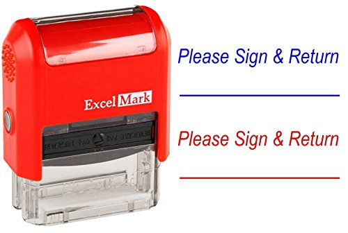 Sign Message Stamp - Please Sign & Return - ExcelMark Self-Inking Two-Color Rubber Teacher Stamp - Perfect for Grading Homework - Red and Blue Ink