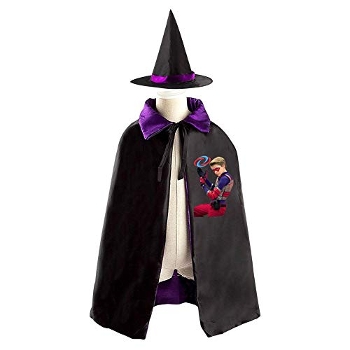 H-enry-D-anger Christmas Halloween Costumes Cape for Kids, Cosplay Party Cloak With Hat Witch Purple