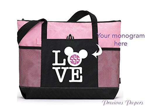 Personalized Mouse Head Love design on a pink and black tote bag for a cruise or a trip to amusement park your monogram with choice of colors]()