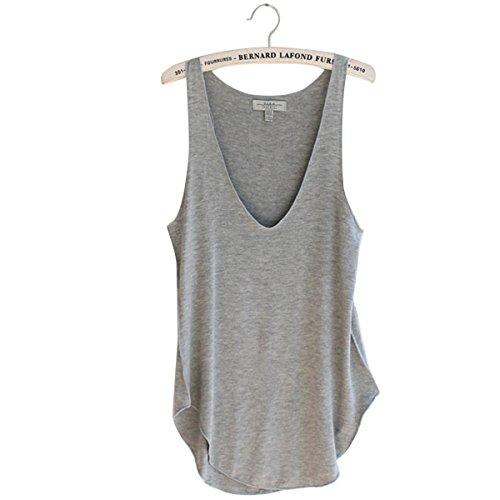 HugeStore Summer Sleeveless Casual Tank Tops Vest T-Shirt Blouse for Women Ladies Grey