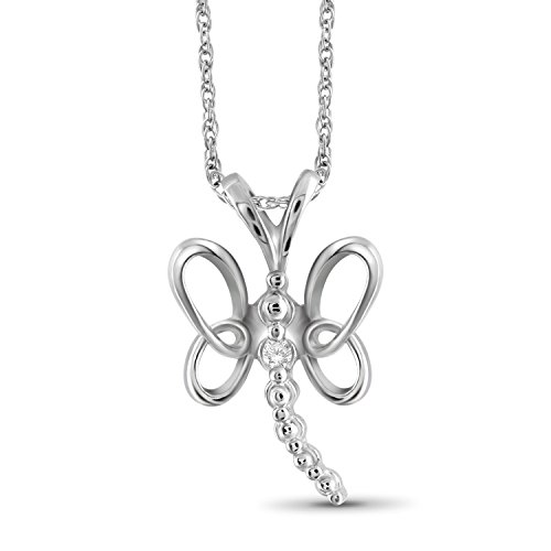 Jewelexcess White Diamond Accent Sterling Silver Butterfly Pendant Diamond Accent Butterfly Pendant