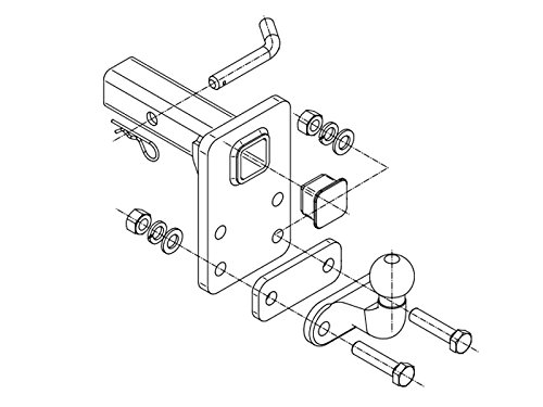 Anh/ängerkupplung Adapter f/ür US-Fahrzeuge Niveauregul 50x50mm AHK