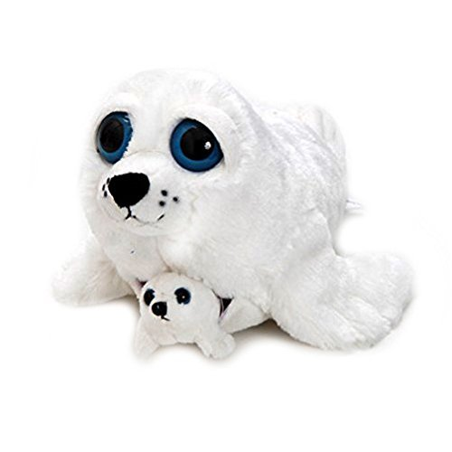 The Petting Zoo Bright Eye Pocketz Harp Seal Mom and Baby 13 inches -