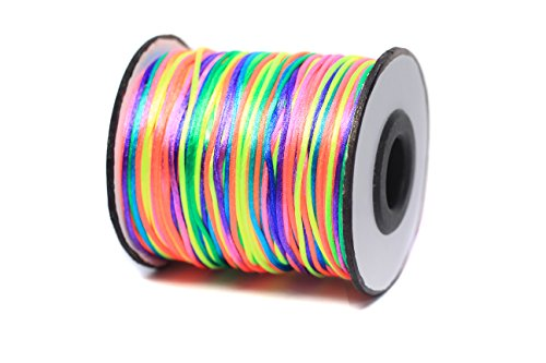 Bistore - Premium Nylon Satin cord, 100m/spool, shiny silk look, for Beading and knoting (1mm Thick, (Multi Colored Cord)