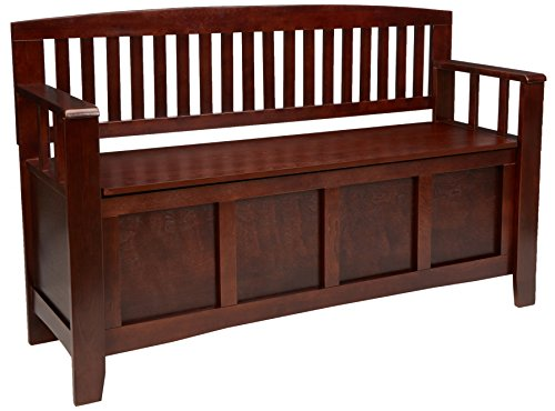 Linon Home Dcor 83985WAL-01-KD-U Linon Home Decor Cynthia Storage Bench, 50' w x 17.25' d x 32' h, Walnut